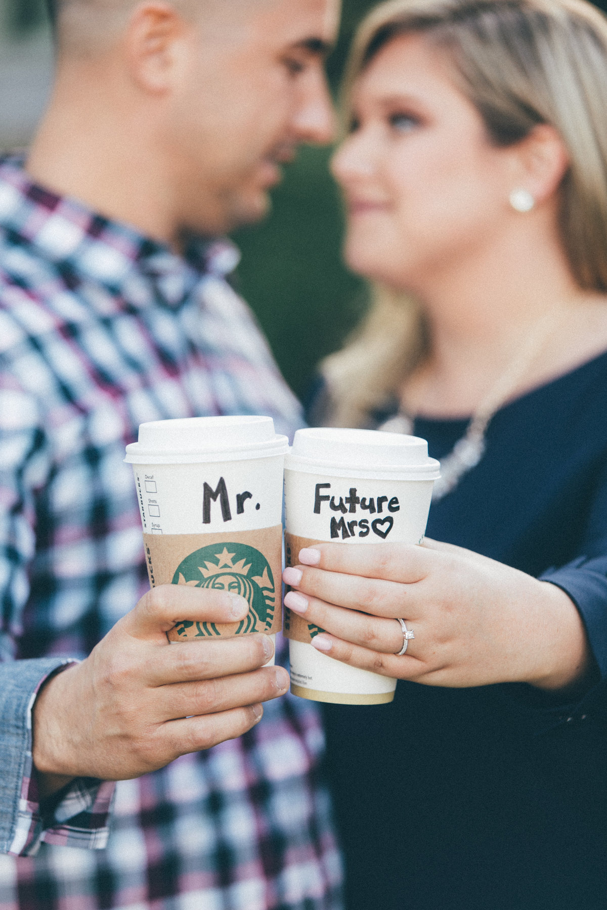 Engagement session with Starbucks Mr+Future Mrs cups