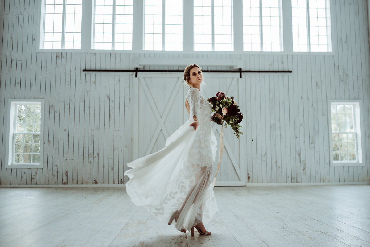 white sparrow barn bridal session