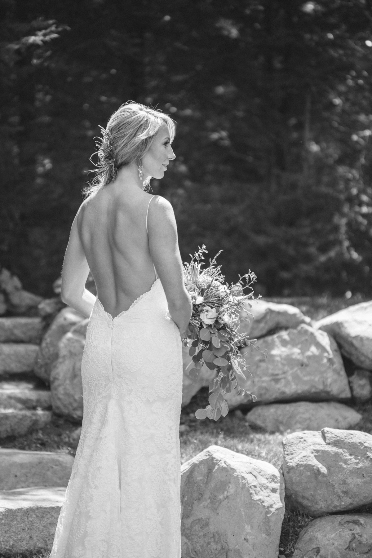 Bride with low back dress Lake Tahoe, Ca