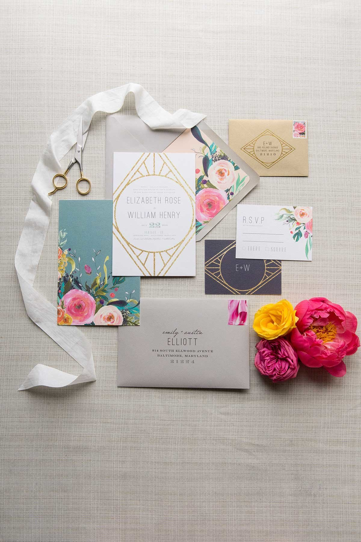 StyledShoot-ArtDecoInvitation-Suite-Floral-Watercolor