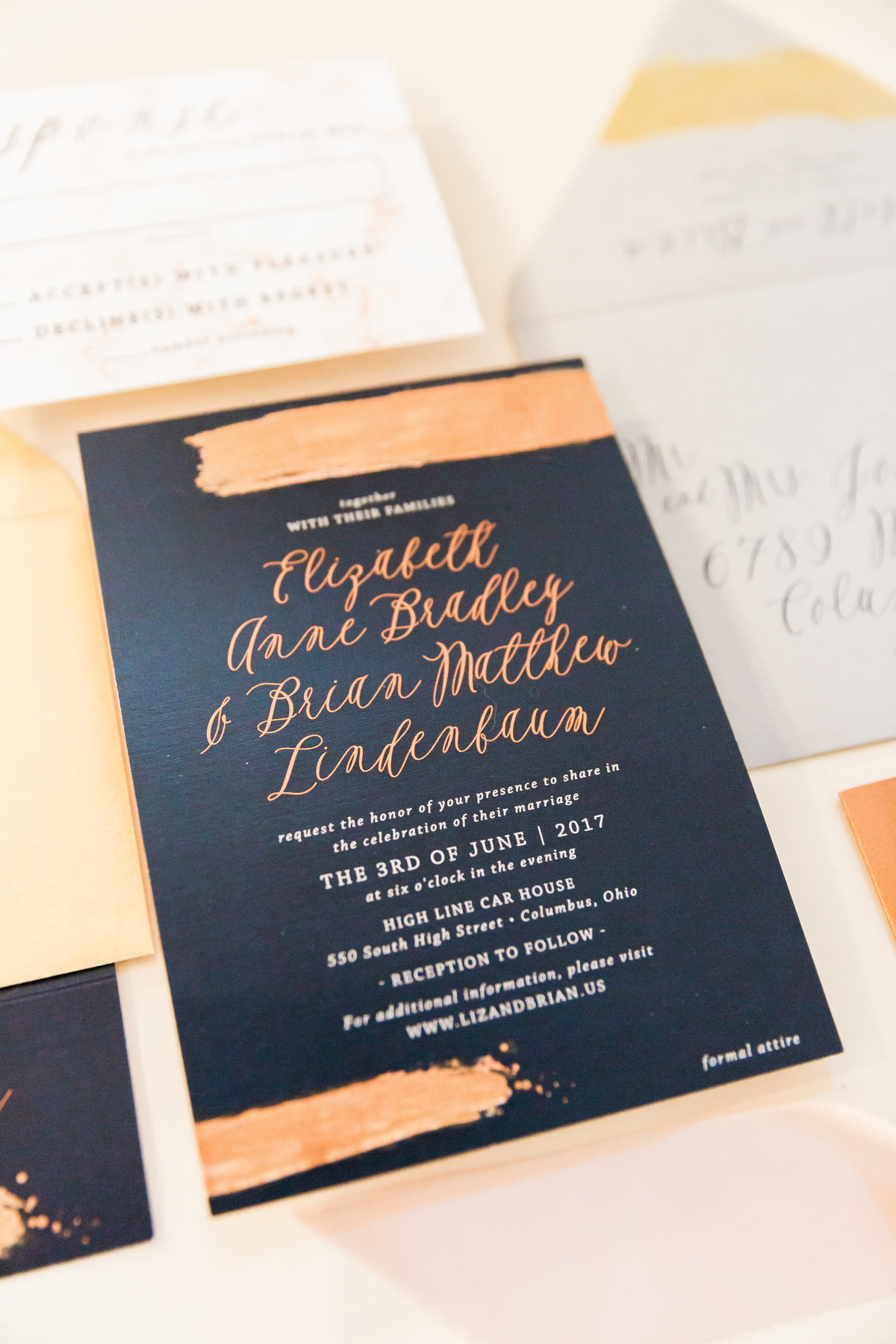 navy rose gold wedding invitation