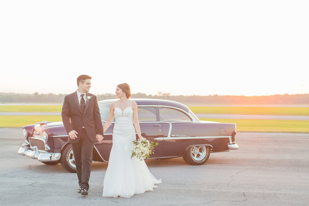 classic-car-bride-groom-sunset-mississippi-wedding-katelyn-anne