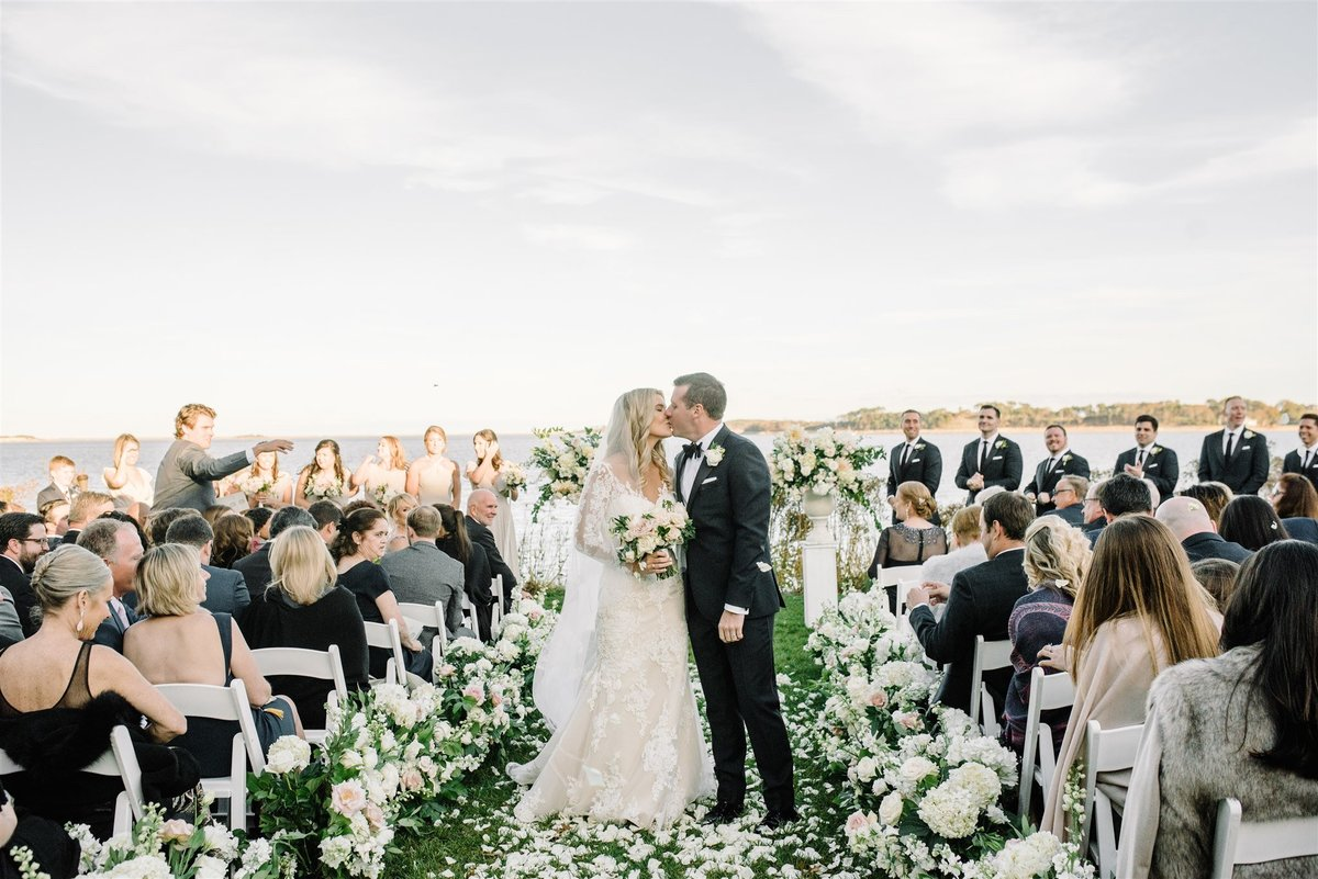 Rose petal recessional ceremony for a Cape Cod Wedding by luxury Cape Cod wedding planner and designer Always Yours Events