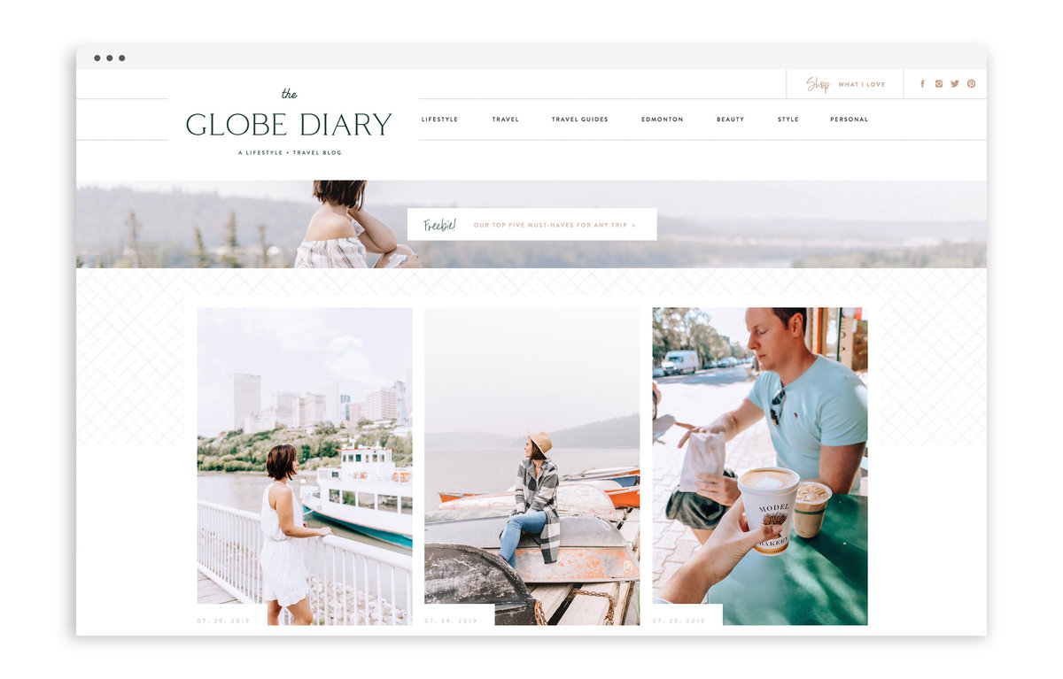 The Globe Diary by Leigh Dorkin - Custom Brand and Showit Web Design by With Grace and Gold - Showit Theme, Showit Themes, Showit Template, Showit Templates, Showit Design, Showit Designer - 0