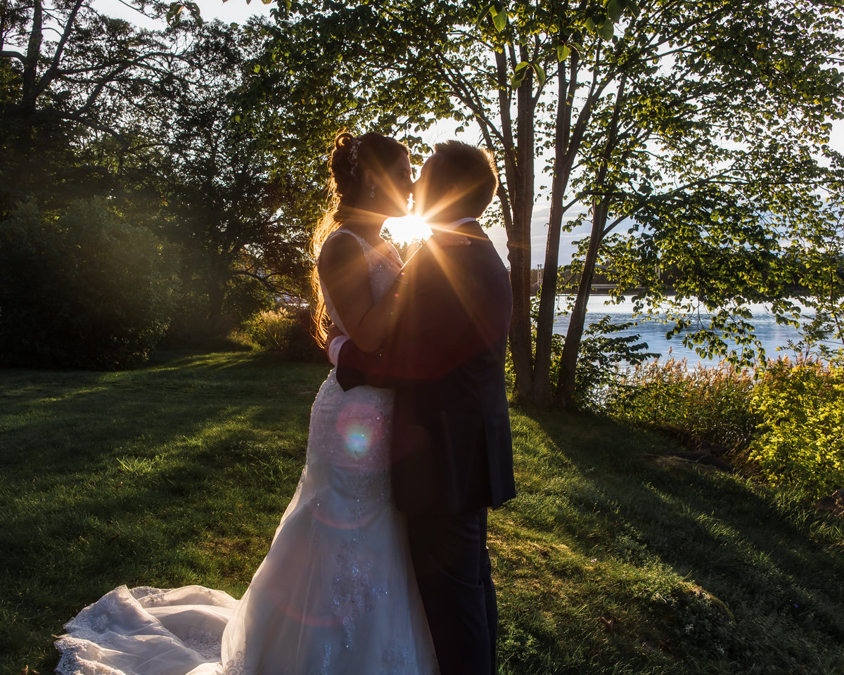Golden hour portrait when bride and groom is facing each other and the light hits between them