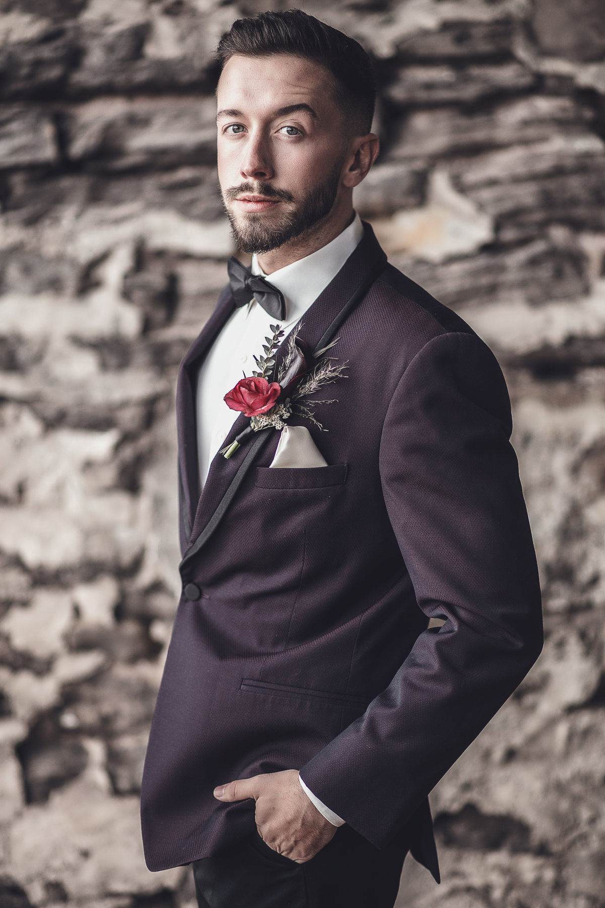 Modern Plum Groom Tux - Wedding Fashion - Verve Event Co (2)