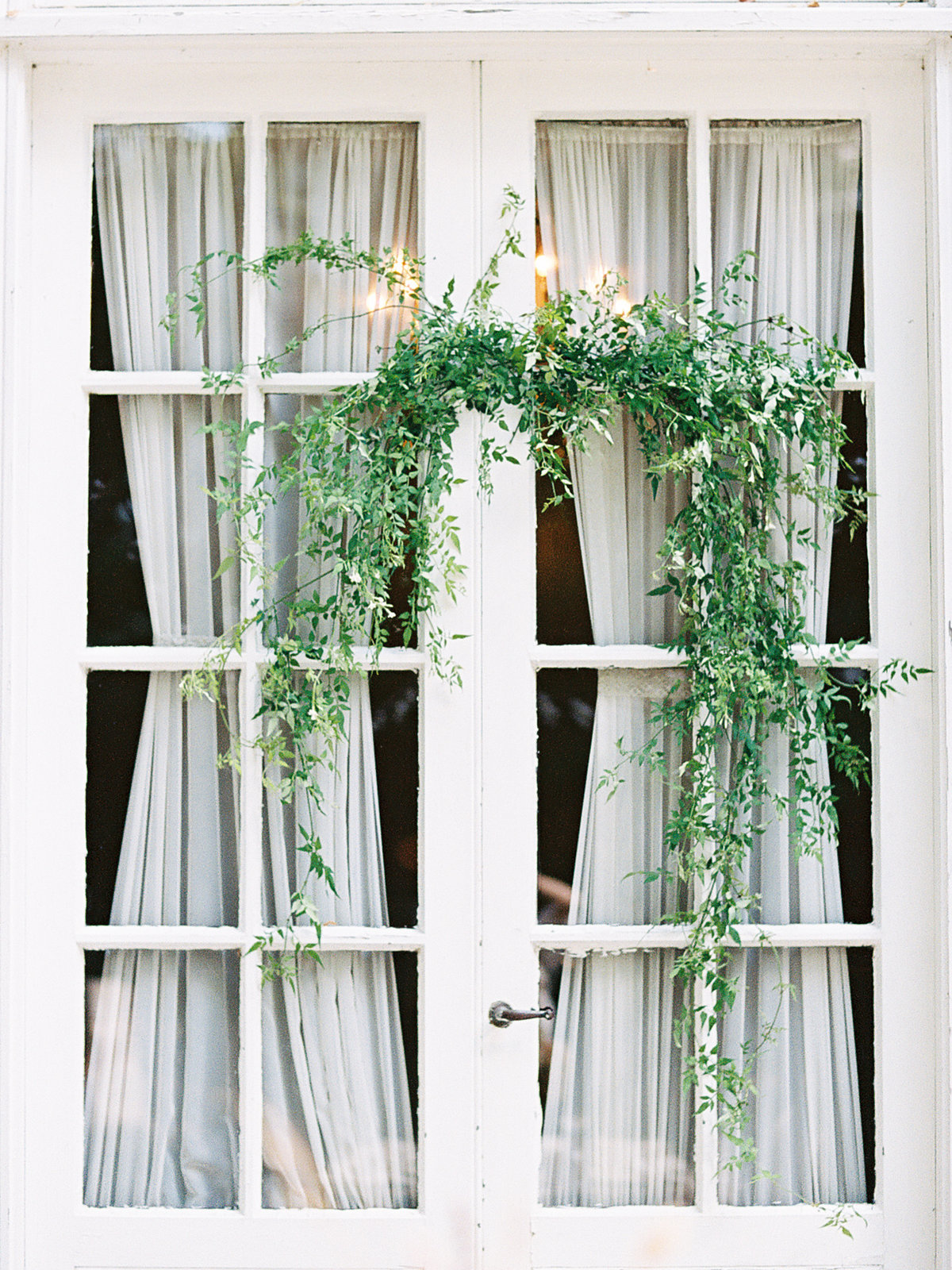 Greenery hanging in front of a window Floral Designs by May Butler Mansion | Pittsburgh Wedding Photographer | Anna Laero