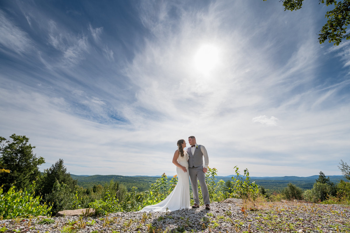 bride and groom portrait in maine