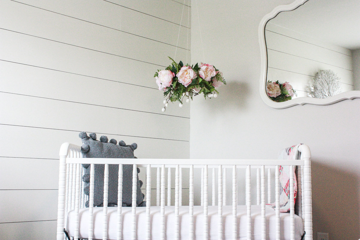 Baby girl's crib, in-home newborn photos, the details, white and pink, grey, simple, clean