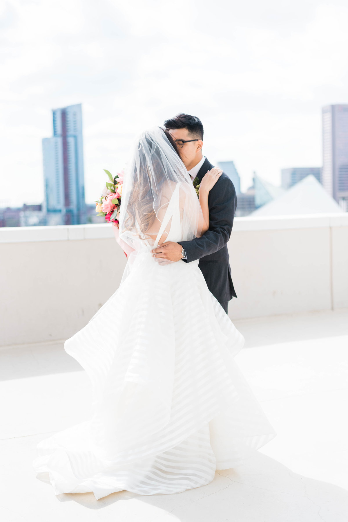 Baltimore rooftop wedding couple photo