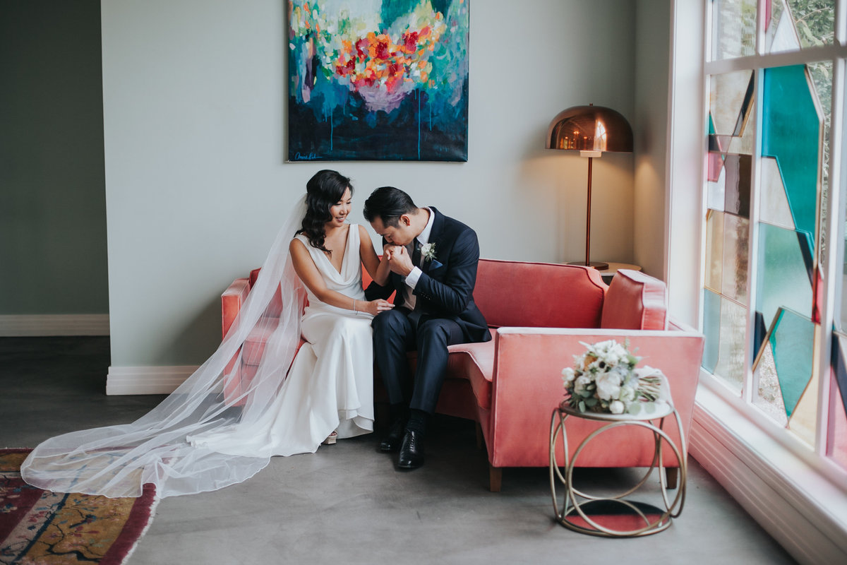 modern bride and groom wedding portrait shot at Fig House wedding in Los Angeles