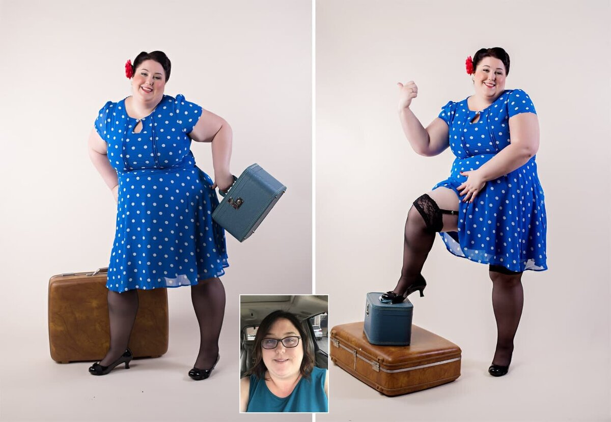 hair and makeup before and after image  for Boudoir & Pinup by Janet Lynn. Woman in a blue polka dot dress posing with vintage luggage