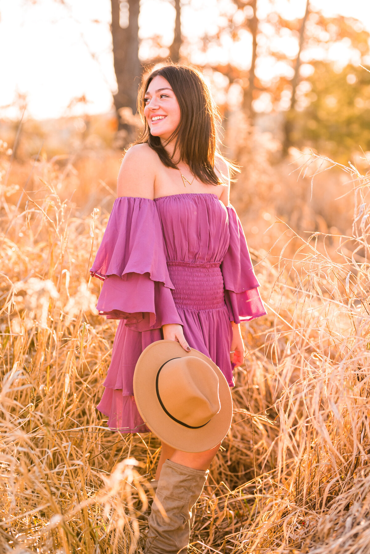 Purple off the Shoulder Dress and Tan Hat