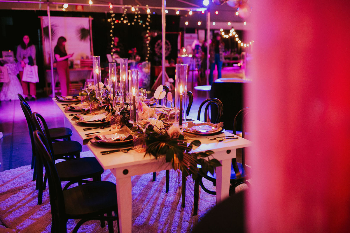 Marry Me Night Market black and white table designed by Luxe Event Productions with floral by GoodSeed Floral