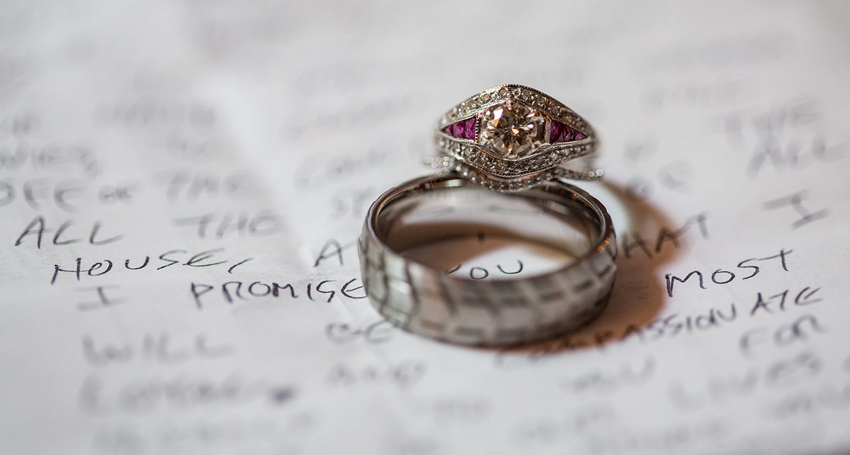 Photo of bride and grooms wedding rings on top of their handwritten vows