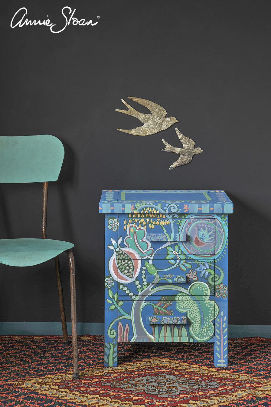 Giverny-bed-side-table-chest-of-drawers-The-Colourist-cover-Detail-Brush-botanical-scene-Graphite-Wall-Paint-image-1