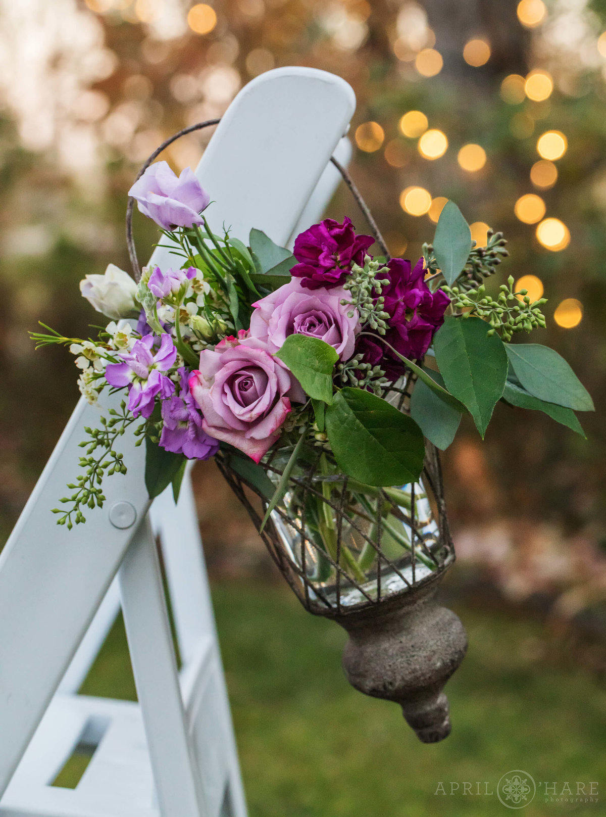 Pretty Purple Wedding Flowers at a Colorado Garden Wedding