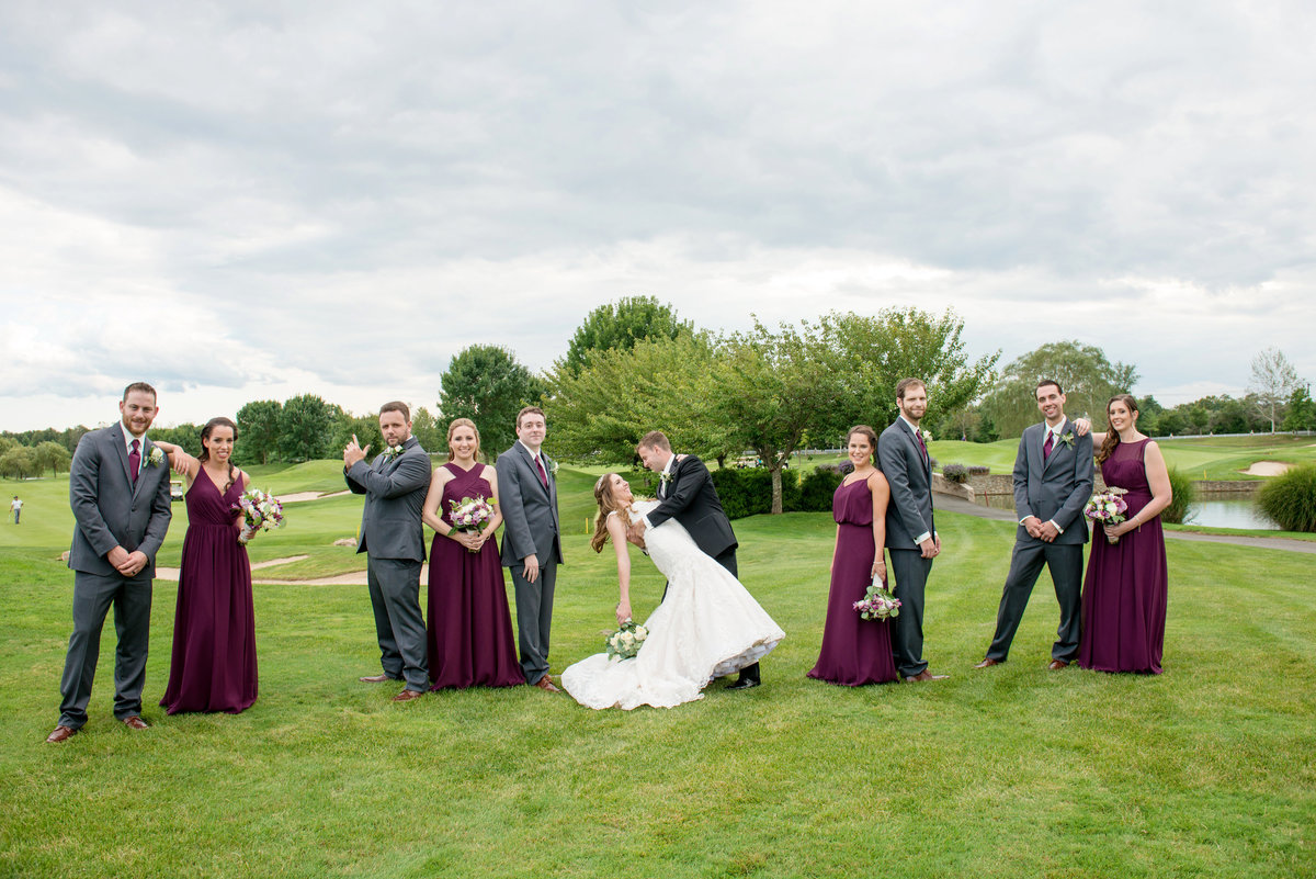 bridal party photo on the golf course at Willow Creek Golf and Country Club