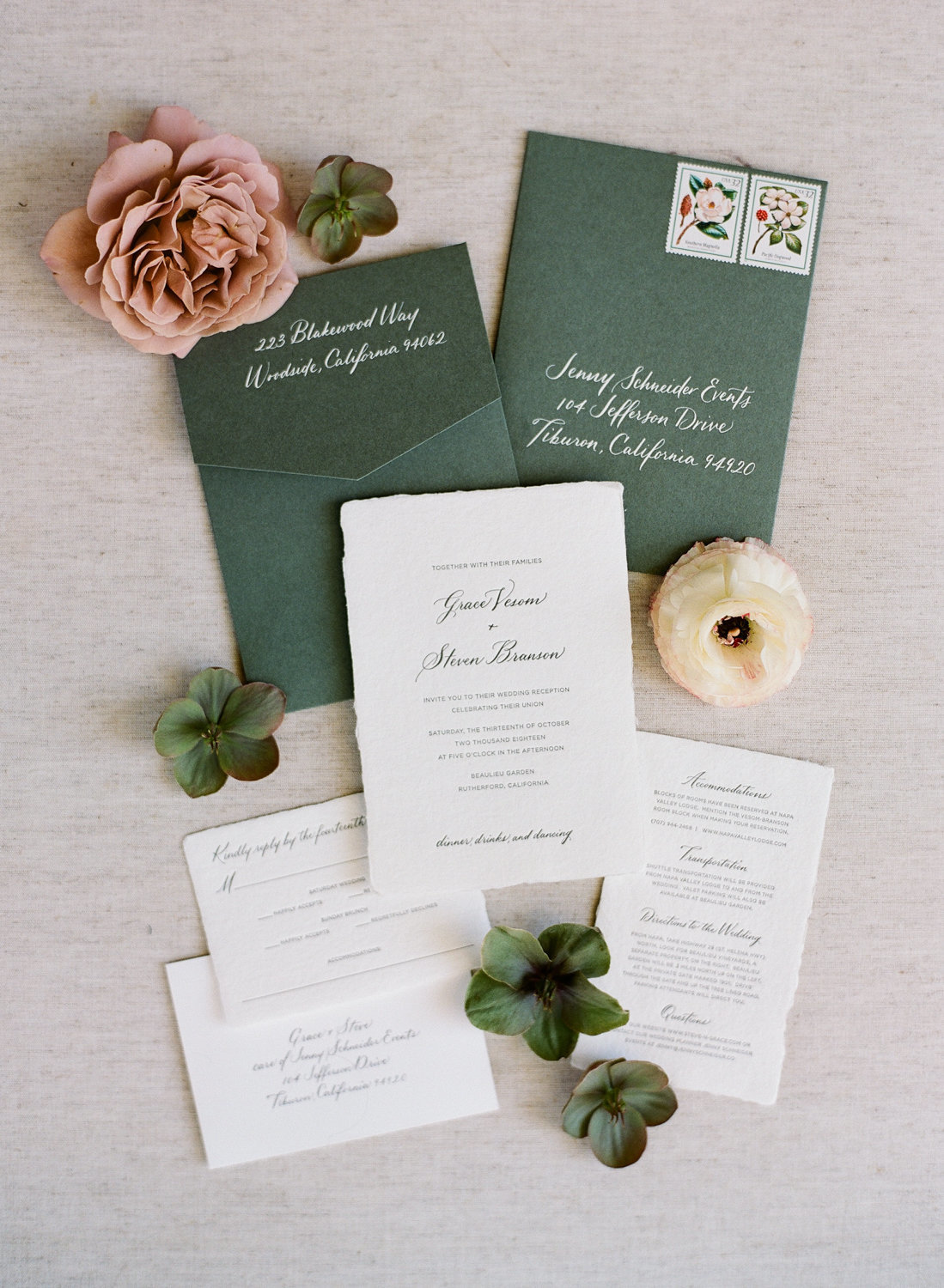 Invitation for wedding by Jenny Schneider Events at the Beaulieu Garden in Napa Valley, California. Photo by Lori Paladino Photography.
