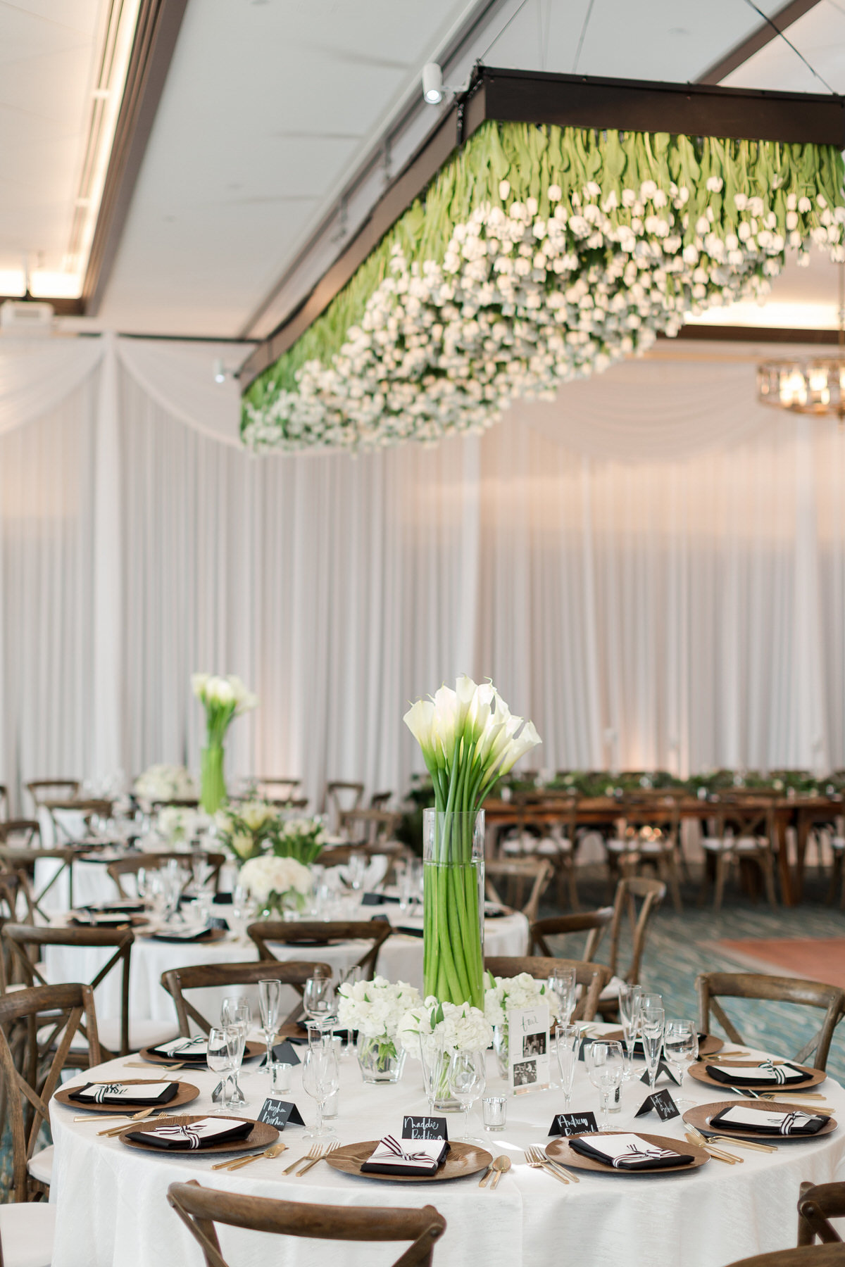 white floral, modern black and white wedding