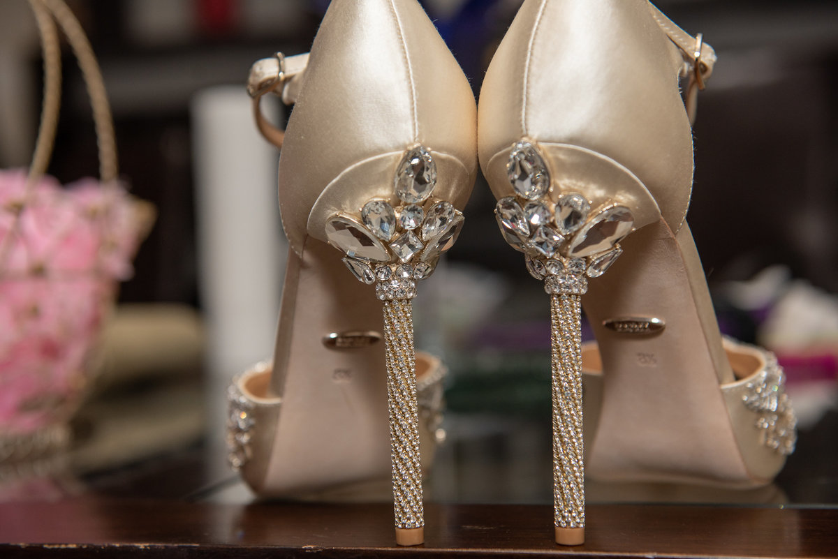 Gold Stiletto Pumps with Bling