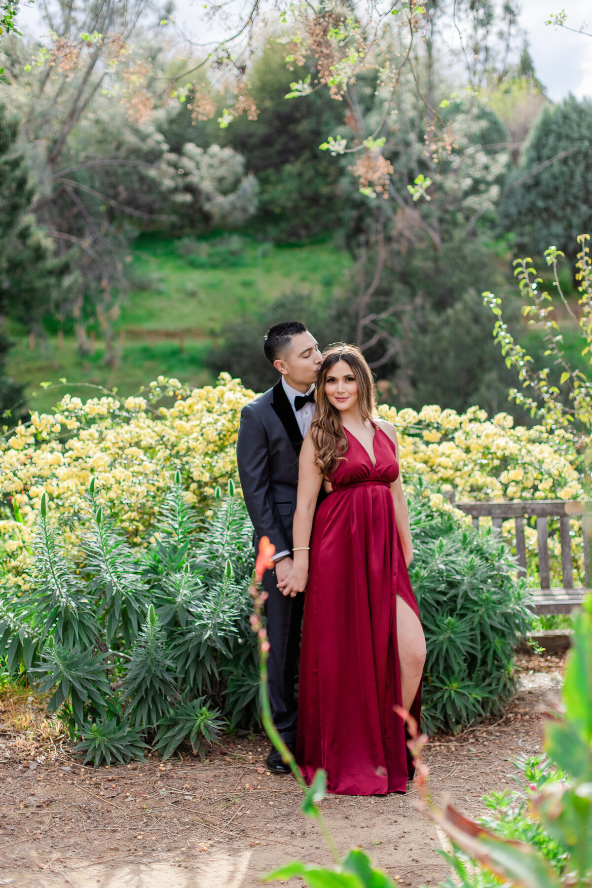UC Riverside Botanical Gardens, Engagement Photography, Riverside Phototgrapher, Garden Engagement, Couple Photography, Red Dress-31