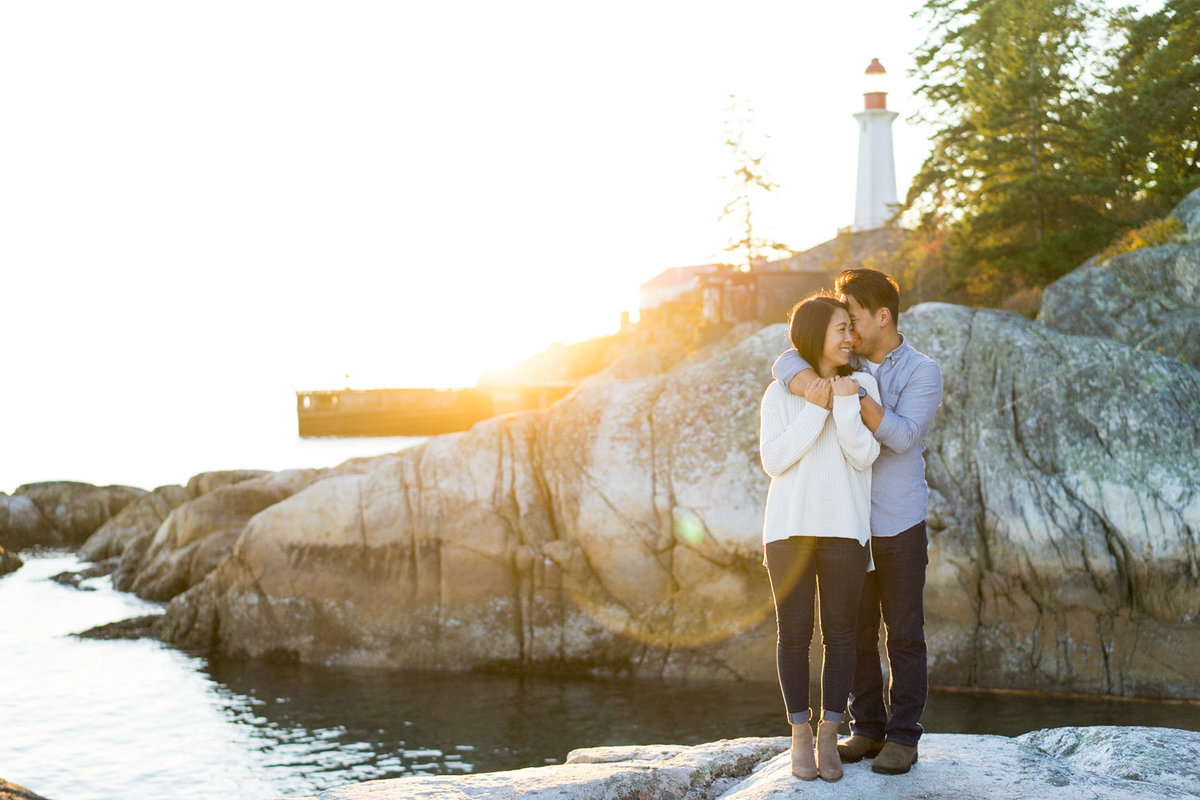 Whytecliff Park engagement photo during the fall sunset