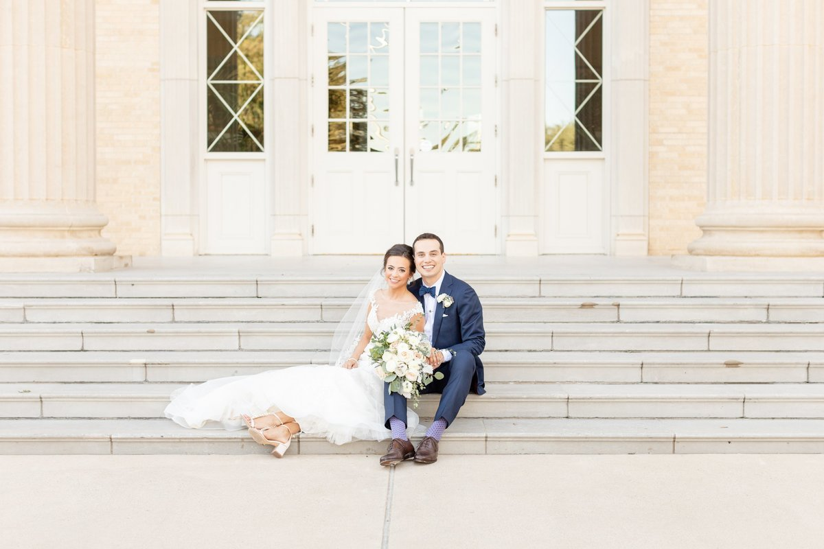 TCU Robert Carr Chapel Wedding  Husband and Wife Stairs Traditional