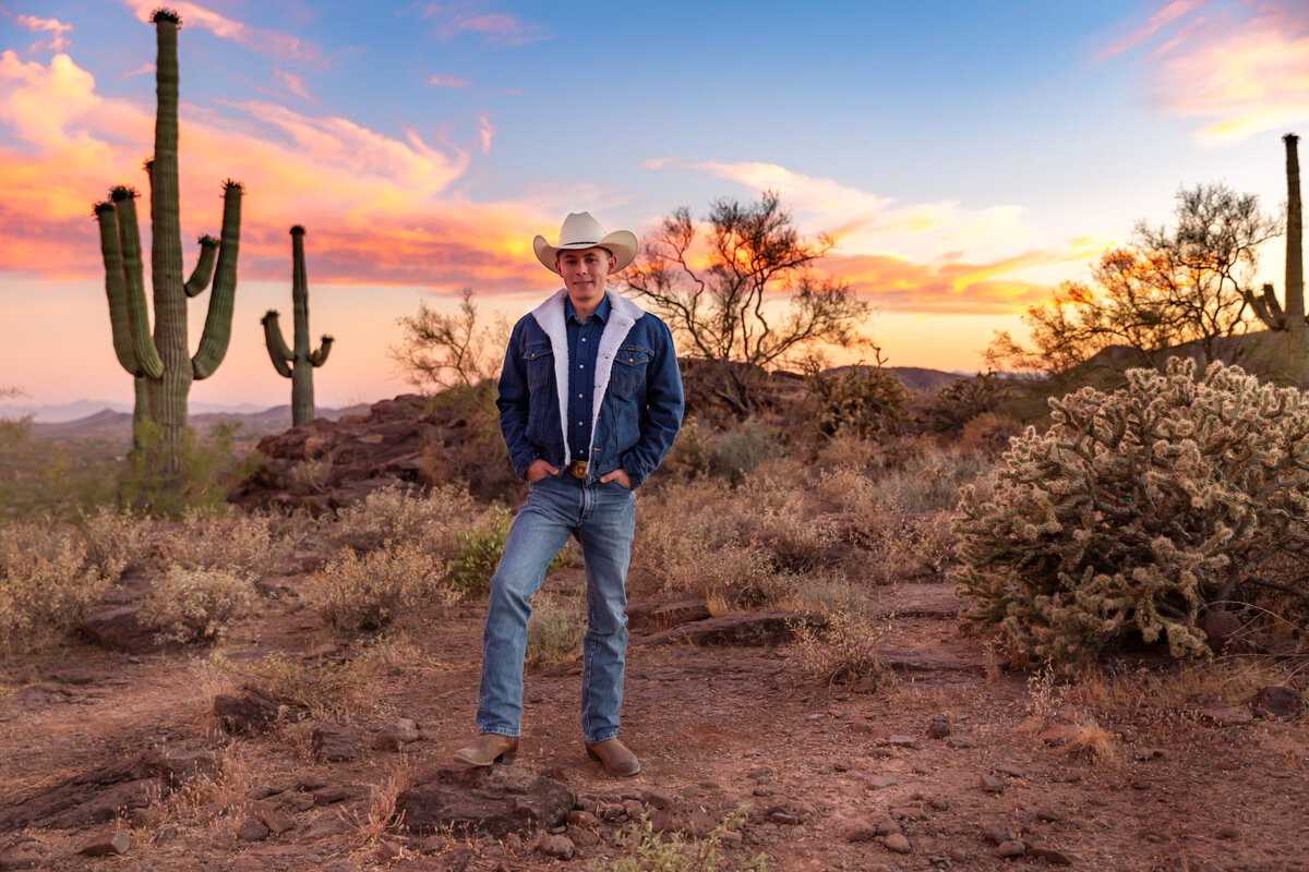 cowboy senior in desert