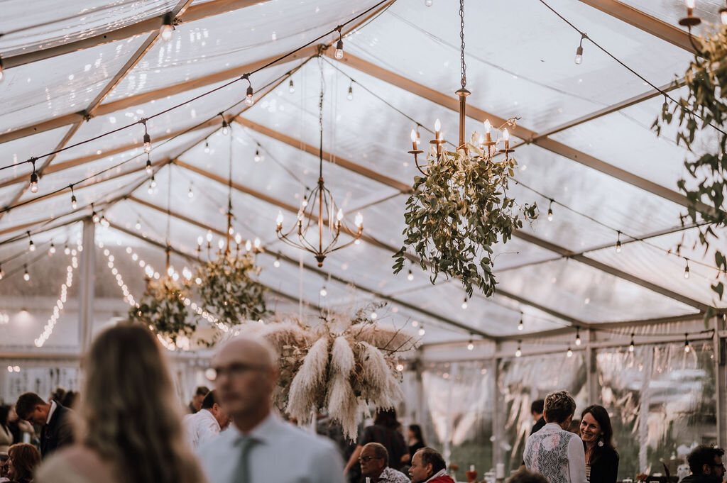a clear tent with hanging greenery on the chandeliers while guests mingle inside