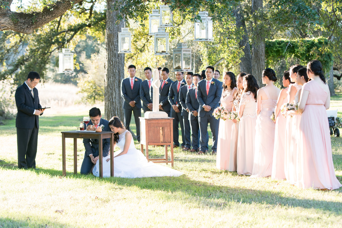 Asian wedding photographer pecan springs ranch bride groom wedding party prayer ceremony 10601 B Derecho Drive, Austin, TX 78737
