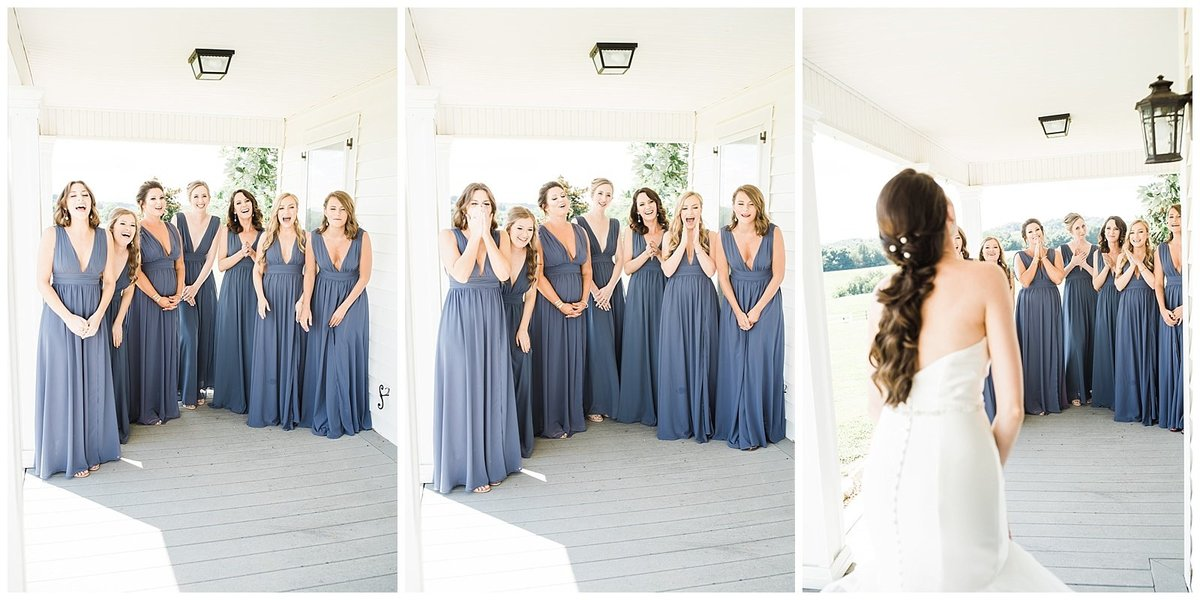 Elegant-White-Barn-Wedding-Bridesmaid-First-Look-With-Bride