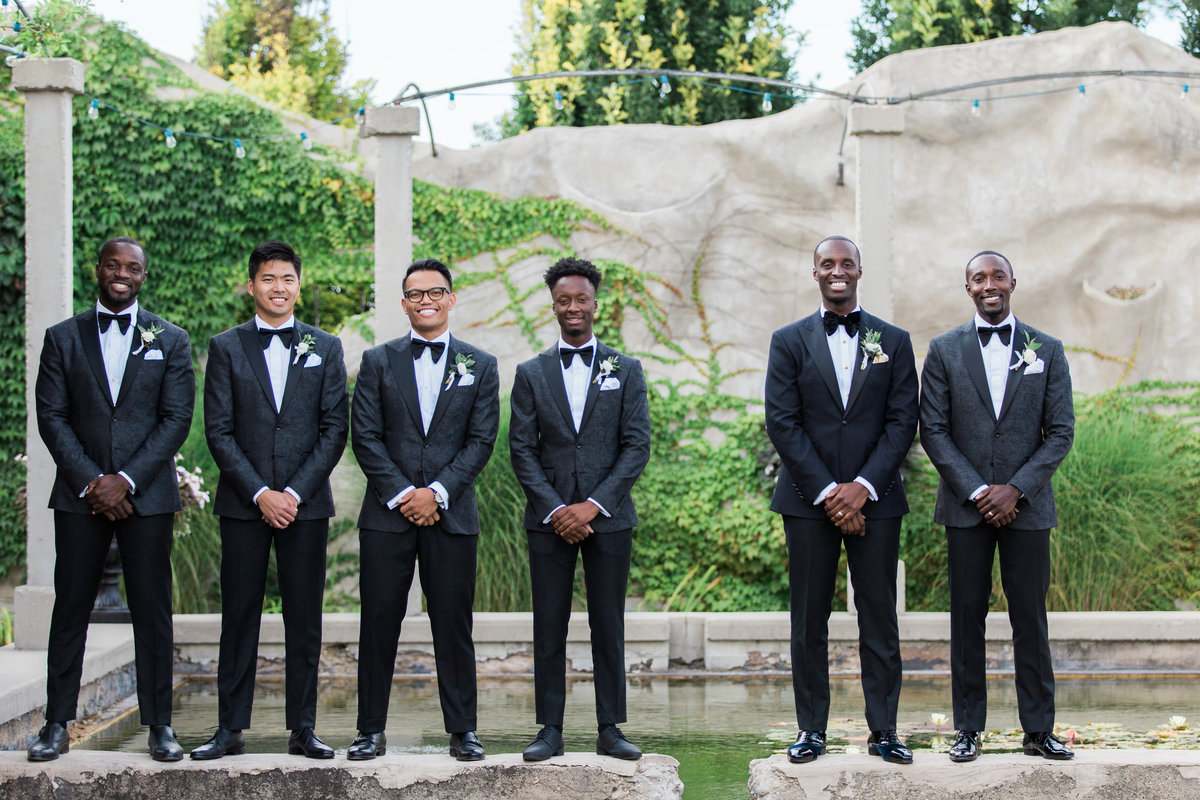 groomsmen and groom in wedding photo