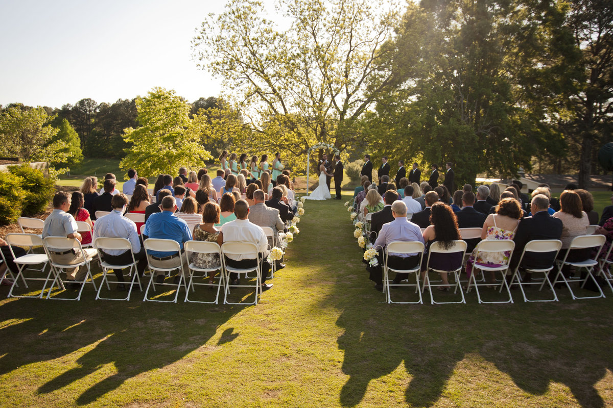 outdoor wedding at sunset