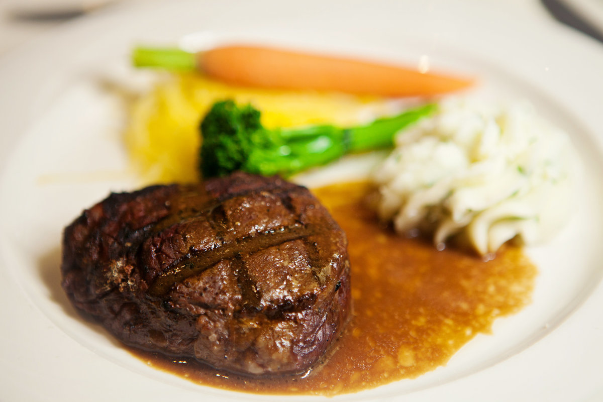 Grilled Filet Mignon with a port wine reduction.