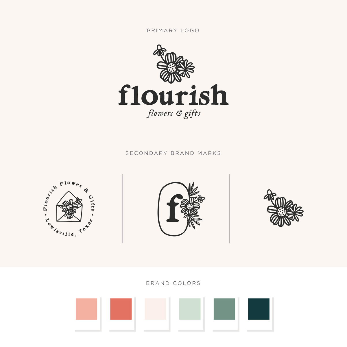 Flourish Flowers & Gifts logos and brand colors