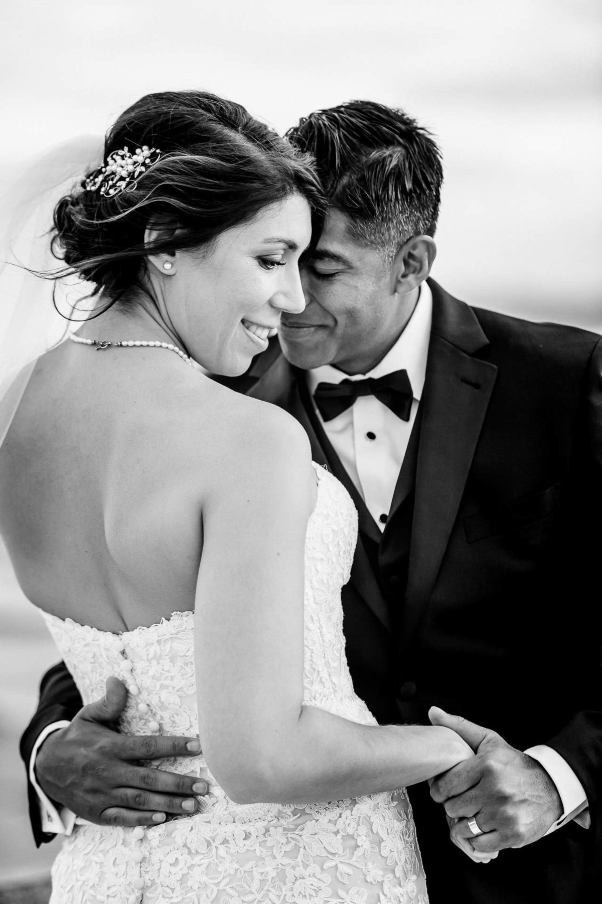 black and white portrait of bride and groom by stephane lemaire photography