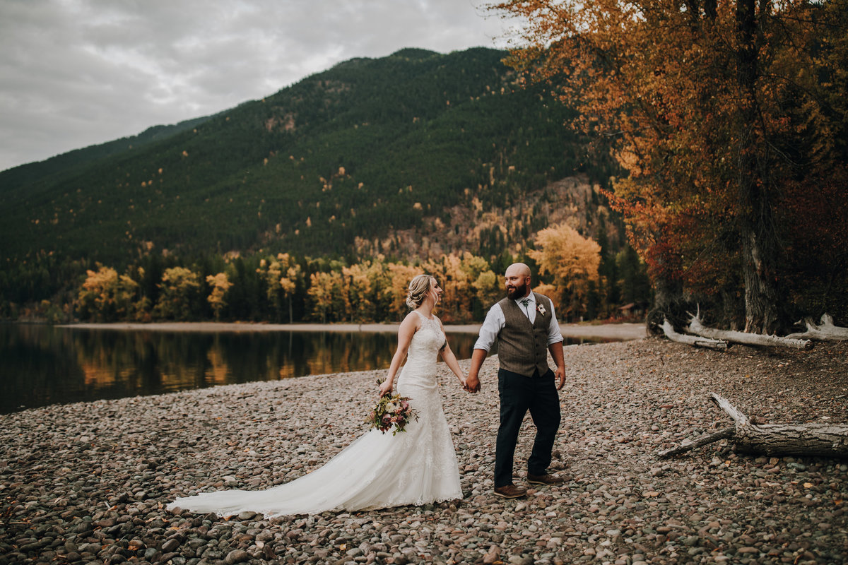 Glacier National Park Wedding photos at Lake McDonald during fall