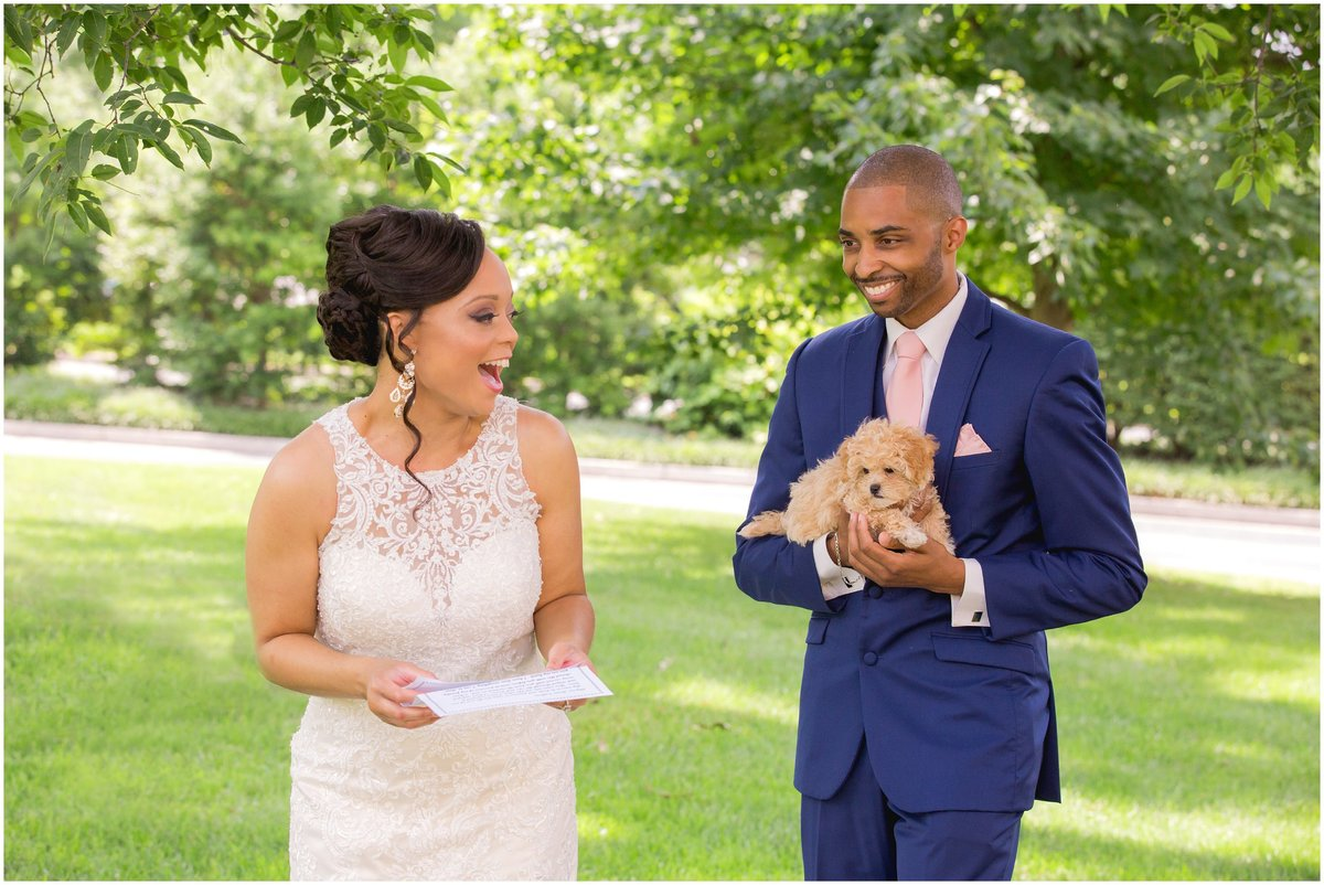 Groom surprises bride with a puppy by Kevin and Anna Photography