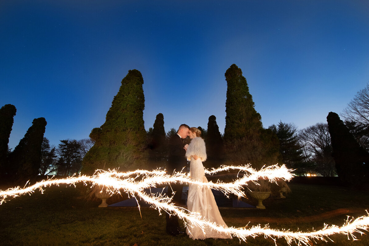 night shot of bride and groom from wedding The Carltun