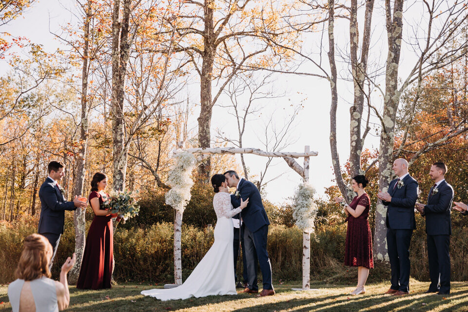 Fall Wedding First Kiss Bride and Groom Ceremony Arnold House Livingston Manor Wedding Catskills Wedding Planner Canvas Weddings
