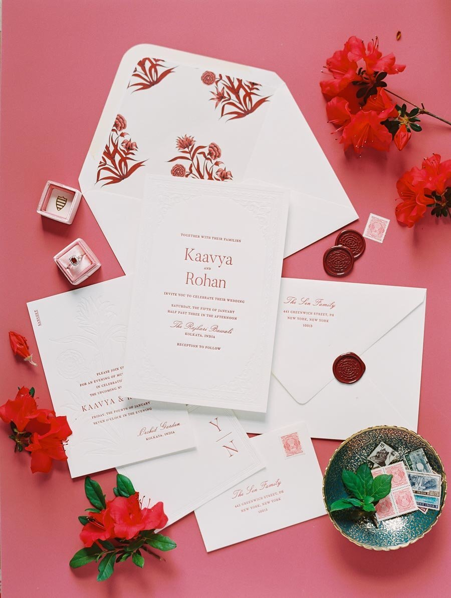 Indian Inspired Red Wedding Invitation Wax Seal Niru & Baku Bonnie Sen Photography