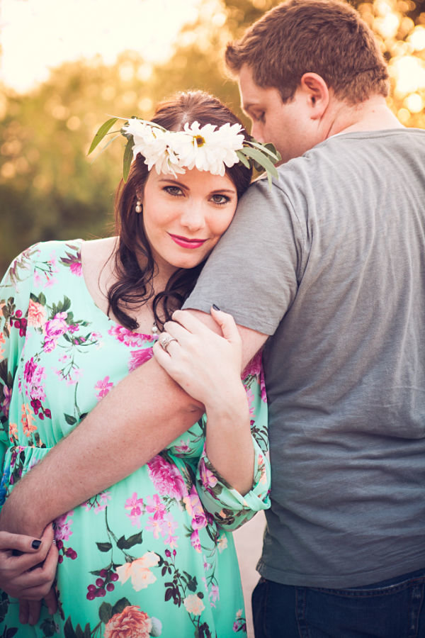 maternity photos mama wearing floral crown