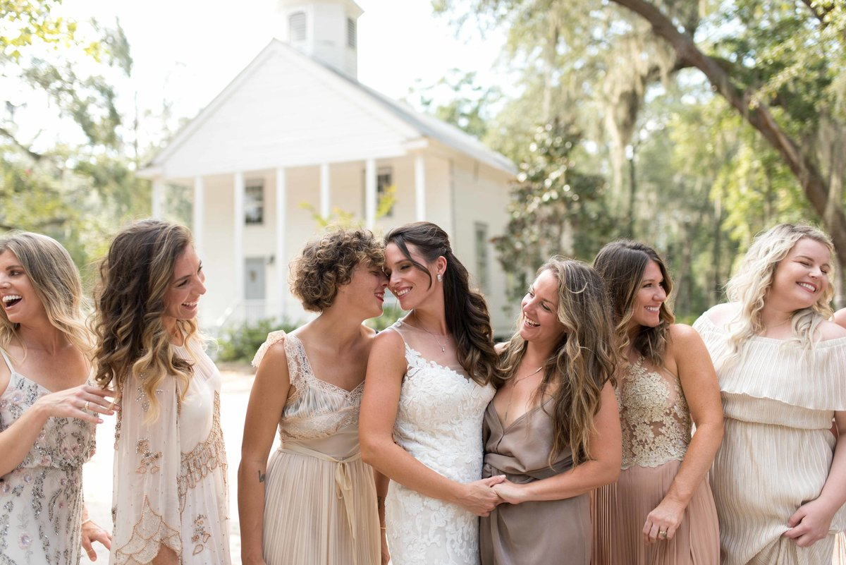 Selena's bridal party outside church on Daufuskie Island, SC