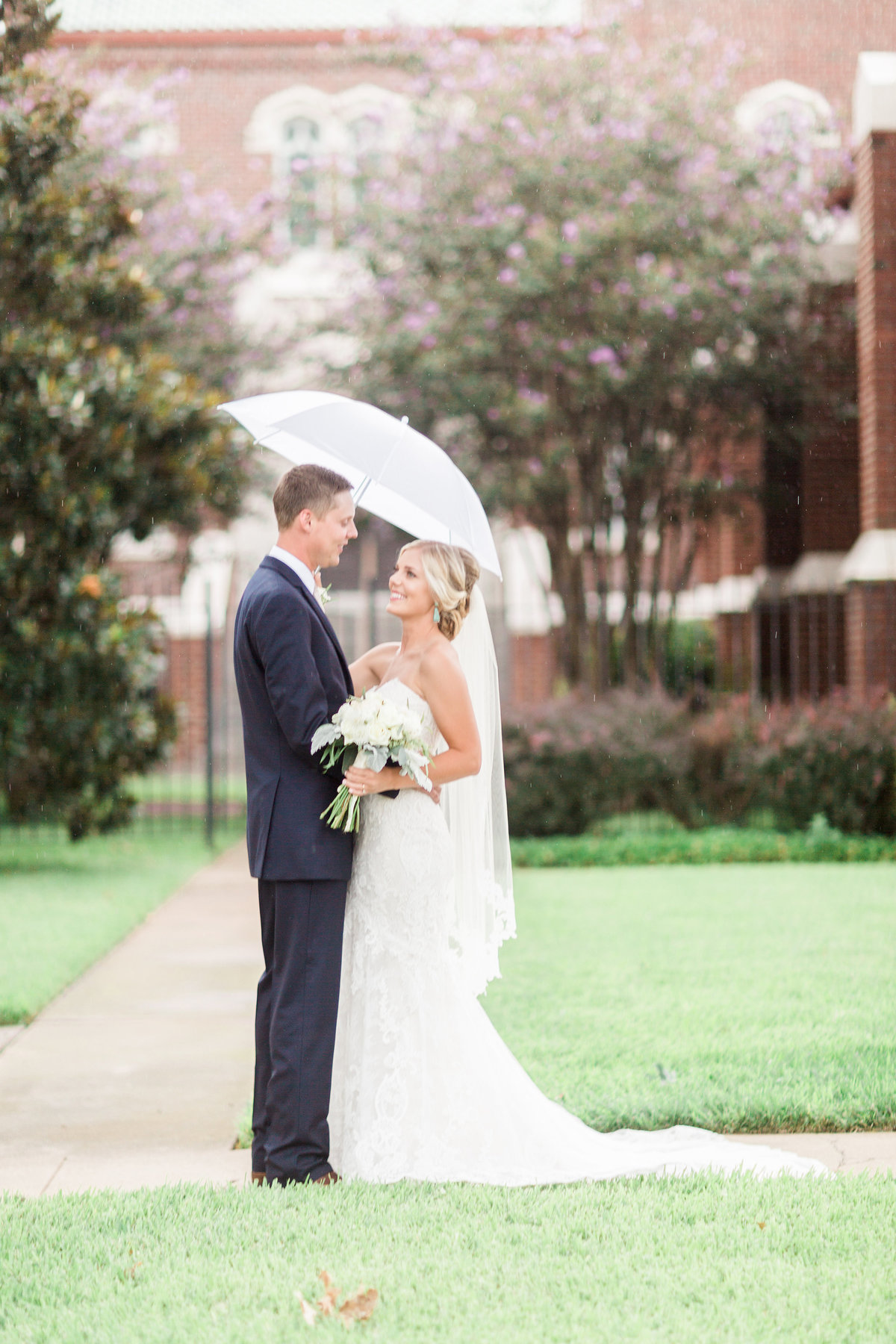 Ardmore Convention Center Wedding Couple Rain