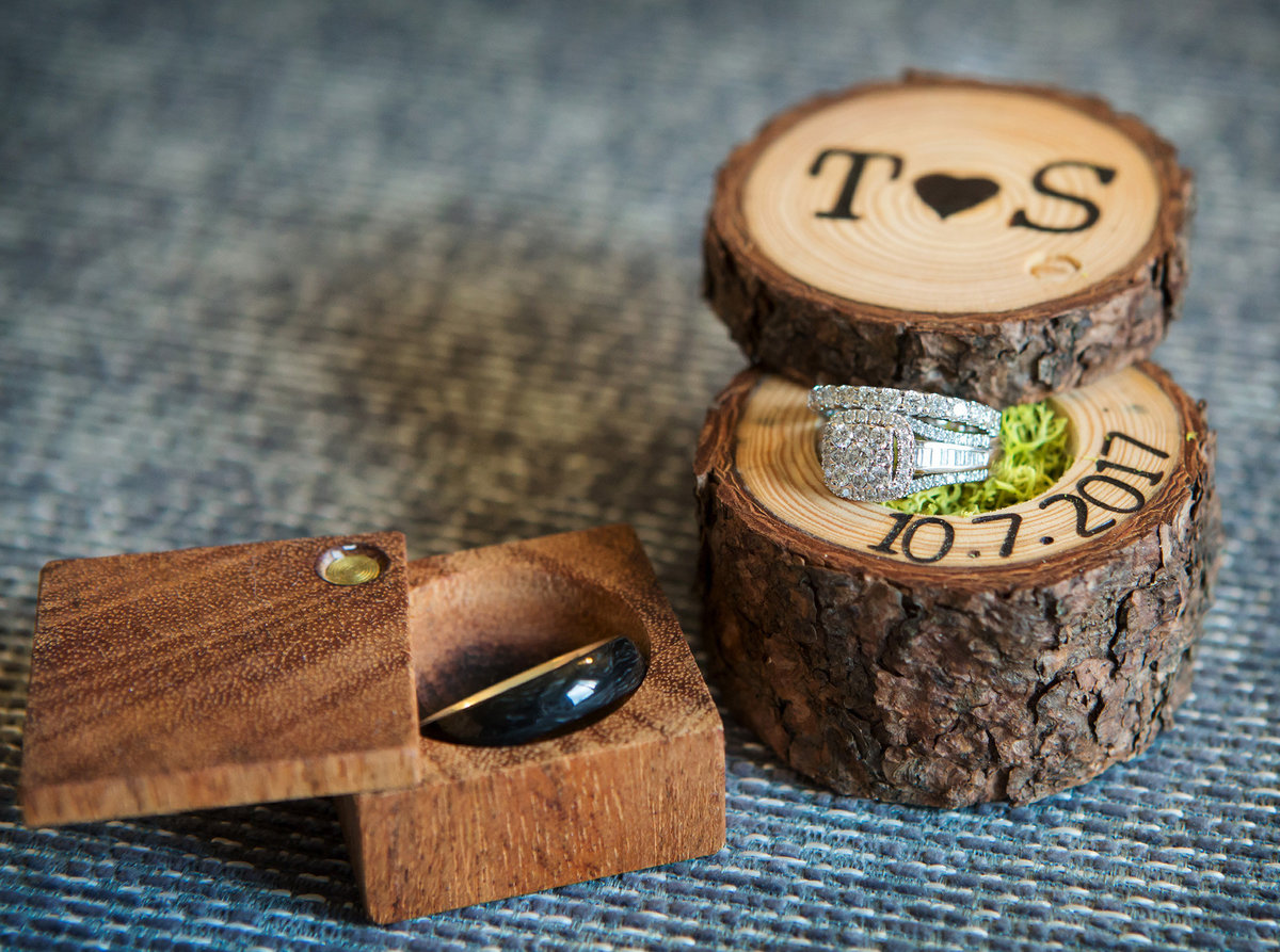 wedding bands in wood ring boxes