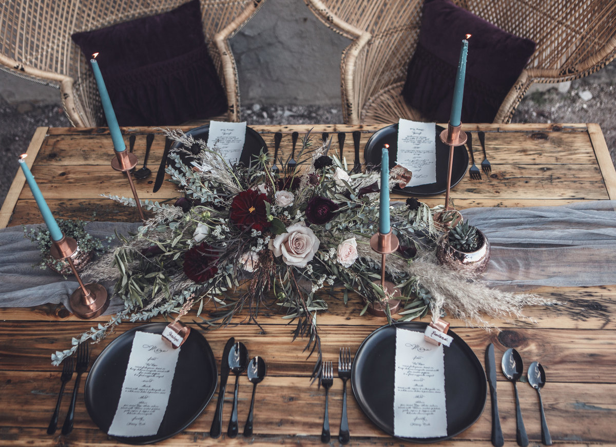 Modern Edgy Boho Wedding Table Inspiration - Rochester NY - Verve Event Co (2)