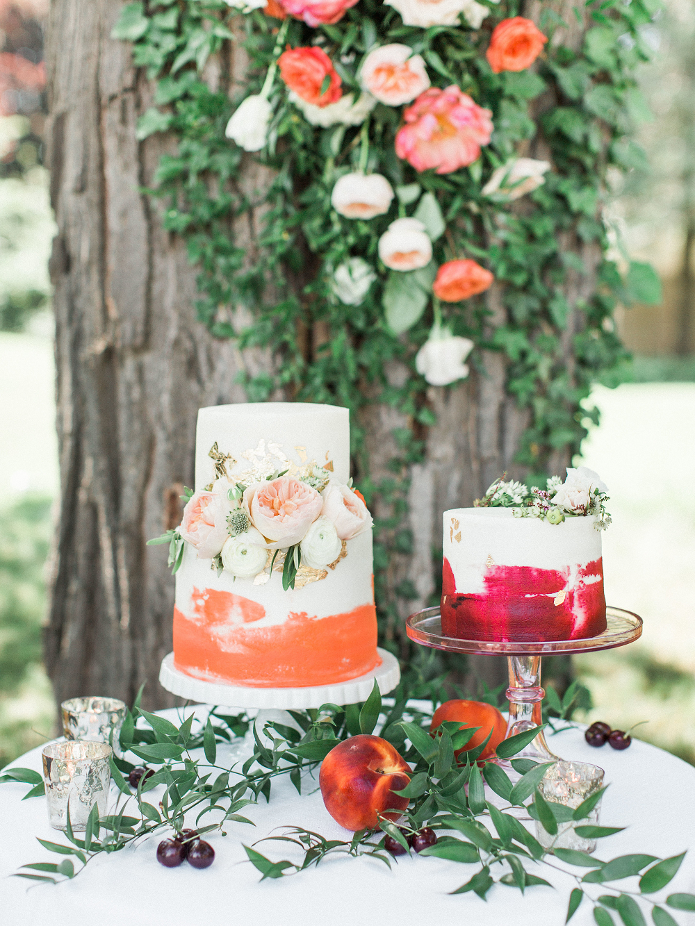 Whimsical Summer Wedding Styled Shoot at Henderson Castle Featured in WeddingDay Magazine Peach Wedding Cake