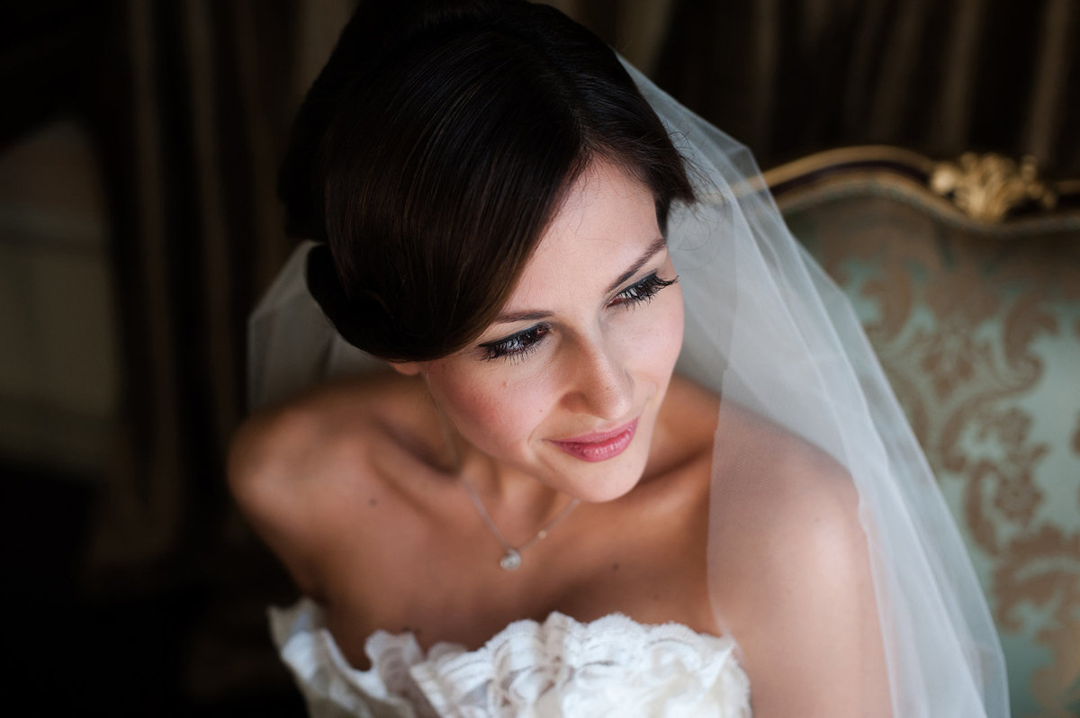 Bosphorus Palace wedding bridal portrait with bride looking away from camera