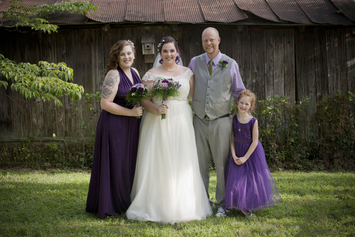 Bride and Groom purple dresses